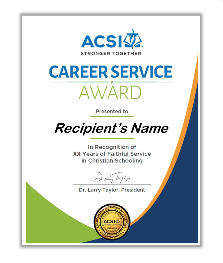 acsi award csa career recipients